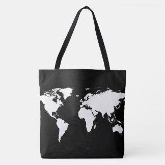 Bolsa Tote mapa do mundo branco no preto