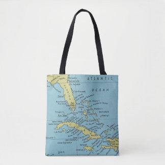 Bolsa Tote Mapa do vintage da sacola de Florida e de Cuba