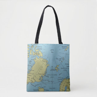 Bolsa Tote Mapa do vintage da sacola do Pólo Norte