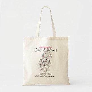 Bolsa Tote Marcagem com ferro quente floral do penteado da