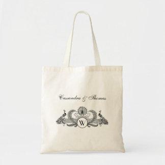 Bolsa Tote Marfim BG do monograma dos pavões do vintage