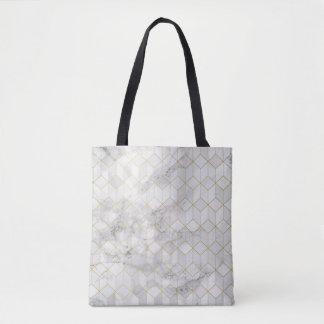 Bolsa Tote Mármore branco com teste padrão do cubo do ouro