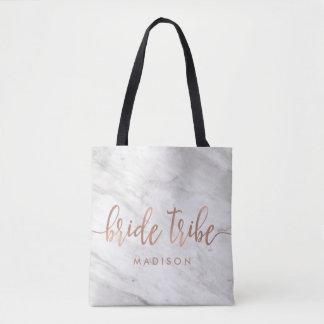 Bolsa Tote Mármore branco & tribo cor-de-rosa da noiva do