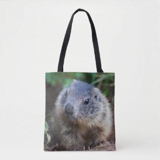 Bolsa Tote Marmota curiosa do bebê por todo o lado no saco do