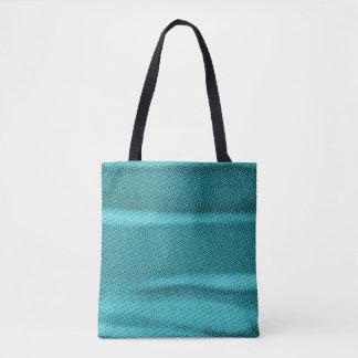 Bolsa Tote matiz azul ciano enrugado do efeito