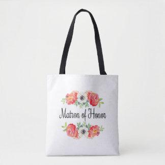 Bolsa Tote Matrona floral da aguarela cor-de-rosa e branca da