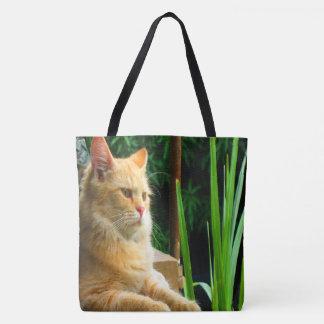 Bolsa Tote Meditação do gato de gato malhado do gengibre