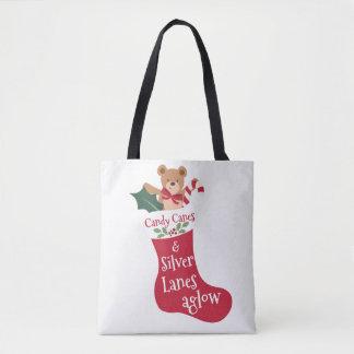 Bolsa Tote Meia vermelha do Natal do bastão de doces do