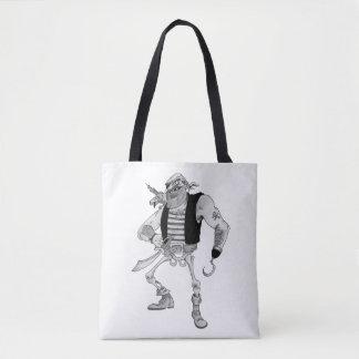 Bolsa Tote Meio pirata de esqueleto