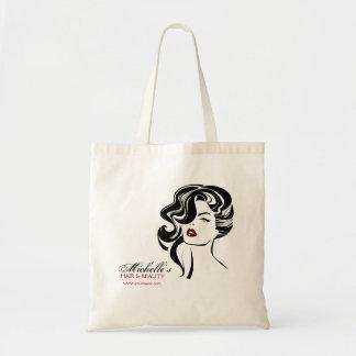 Bolsa Tote Menina bonita com ícone da composição do cabelo