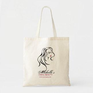 Bolsa Tote Menina bonita com ícone do cabelo ondulado e da
