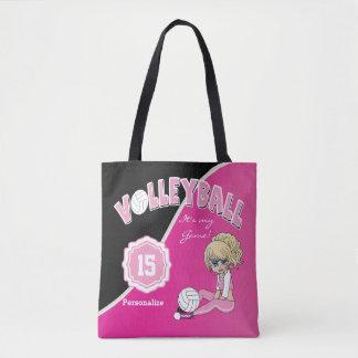 Bolsa Tote Menina cor-de-rosa da diva do voleibol