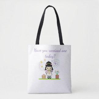 Bolsa Tote Menina dos desenhos animados que guardara a sacola