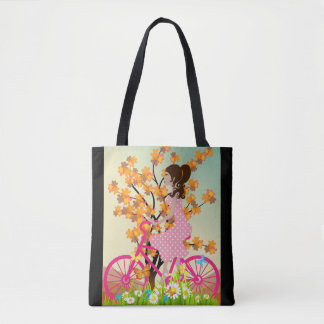 Bolsa Tote Menina em uma bicicleta - sacola