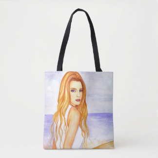 Bolsa Tote Menina na pintura da aguarela da praia