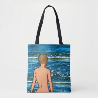 Bolsa Tote Menina na sacola da pintura do mar