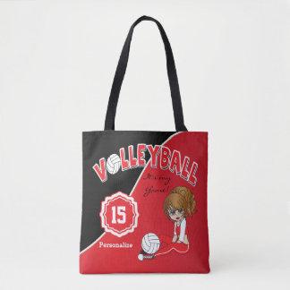 Bolsa Tote Menina vermelha da diva do voleibol