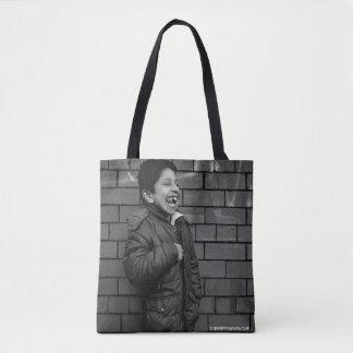 Bolsa Tote Menino de sorriso - saco da fotografia da arte