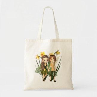 Bolsa Tote Menino feericamente e menina do Daffodil bonito de