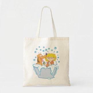 Bolsa Tote Menino que lava uma sacola do cão