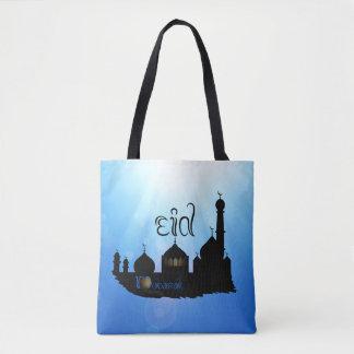 Bolsa Tote Mesquita com Sunrays - sacola de Eid Mubarak