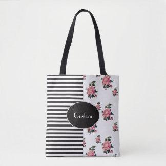 Bolsa Tote Metade e meia listra e rosa florais