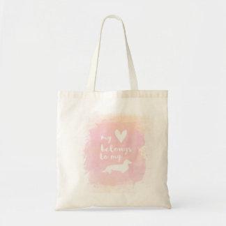 """Bolsa Tote """"Meu coração pertence caligrafia cor-de-rosa aos"""