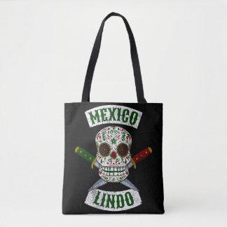 Bolsa Tote México Lindo. Crânio mexicano com os punhais