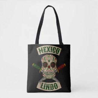 Bolsa Tote México Lindo. Crânio mexicano com punhais
