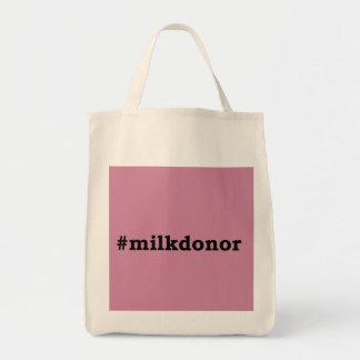 Bolsa Tote #milkdonor com rotulação preta