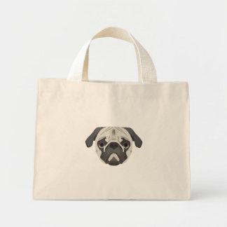 Bolsa Tote Mini A ilustração persegue o Pug da cara