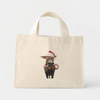 Bolsa Tote Mini Asno do Natal - asno do papai noel - papai noel do