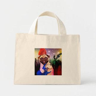 Bolsa Tote Mini Cão da rocha - partido do pug - guitarra do pug -