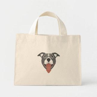 Bolsa Tote Mini Cão Pitbull de sorriso da ilustração