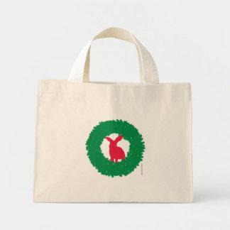 Bolsa Tote Mini Coelho de coelho do Natal em uma grinalda