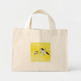 Bolsa Tote Mini Desenho criançola da aguarela com cavalos voados