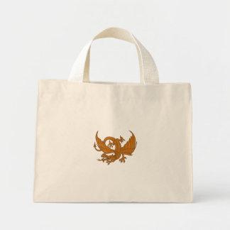 Bolsa Tote Mini Desenho de agachamento do dragão agressivo