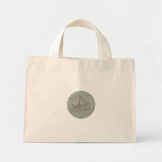 Bolsa Tote Mini Desenho do círculo do navio de guerra do Trireme