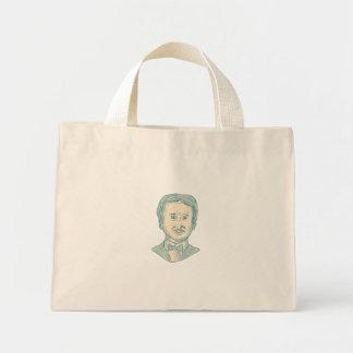 Bolsa Tote Mini Desenho do escritor de Edgar Allan Poe