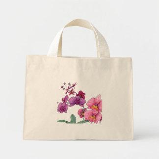 Bolsa Tote Mini Flores cor-de-rosa e roxas da orquídea