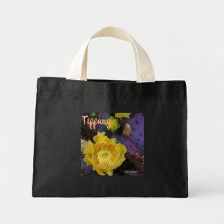 Bolsa Tote Mini Flores roxas do amarelo do cacto do opuntia da