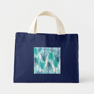 Bolsa Tote Mini Folhas de palma tropicais azuis e verdes.