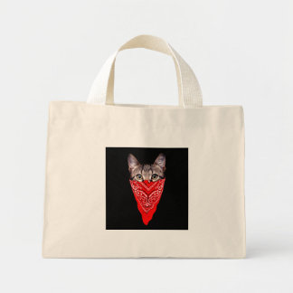 Bolsa Tote Mini gato do gângster - gato do bandana - grupo do gato