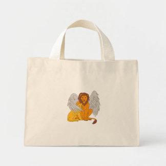 Bolsa Tote Mini Leão voado com o Cub sob seu desenho da asa