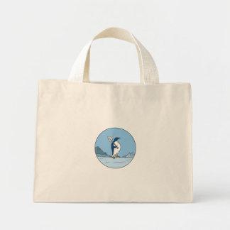 Bolsa Tote Mini Linha do círculo de Antartica da pá do pinguim de