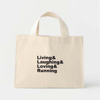 Bolsa Tote Mini Living&Laughing&Loving&RUNNING (preto)
