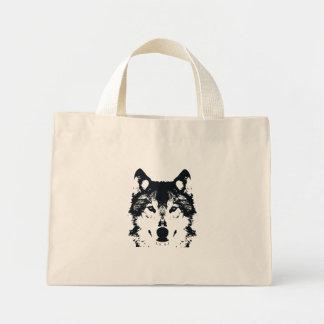 Bolsa Tote Mini Lobo preto da ilustração