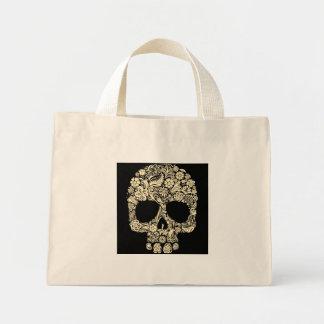Bolsa Tote Mini Mini sacola do crânio floral do açúcar