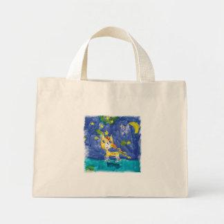 Bolsa Tote Mini Noite estrelado Pegasus da aguarela com bastão