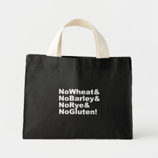 Bolsa Tote Mini NoWheat&NoBarley&NoRye&NoGluten! (branco)